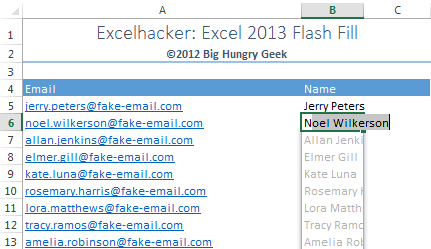 Flash Fill Create Names from Email Addresses