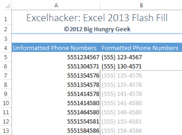 Flash Fill Phone Numbers
