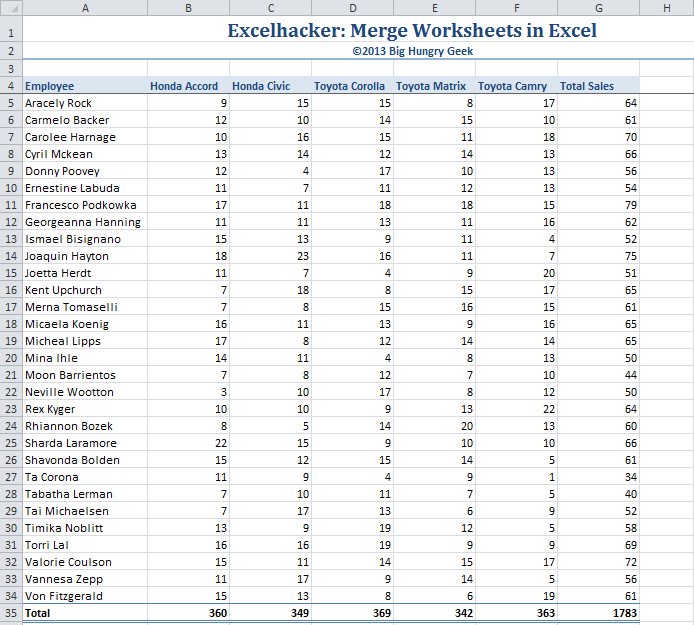 Merge Worksheets In Excel