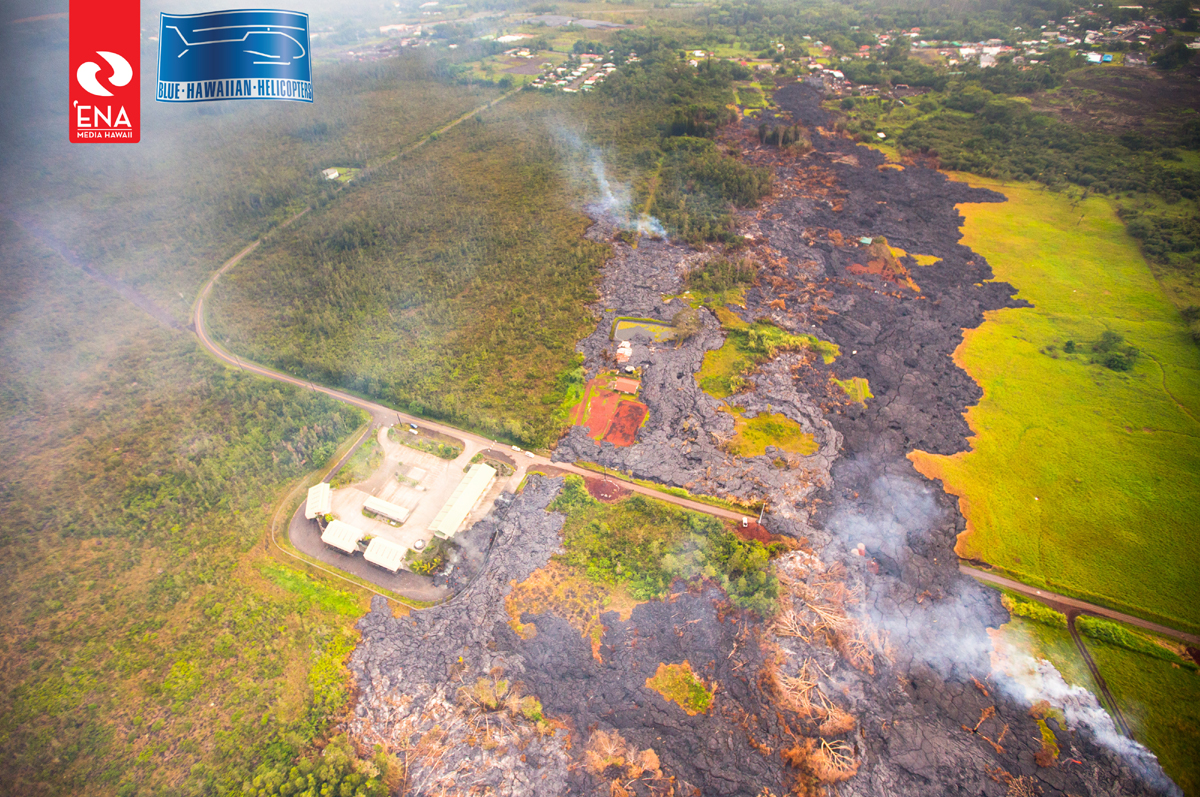 The view from above Apa'a Street looking downslope towards Pahoa Village. Photo courtesy Ena Media Hawaii on Nov. 13, 2014.