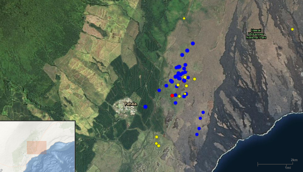 Screen capture taken Monday showing the USGS interactive earthquake map. The swarm is makai of Highway 11, north of Pahala town.