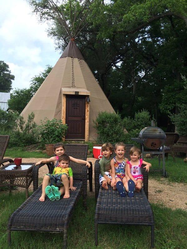 Tipi and Kids at Geronimo Creek Retreat