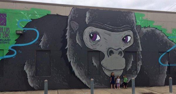 Gorilla Art Mural 3100 Smith St Artist Nicky Davis