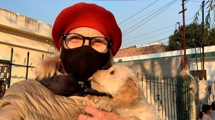 Nora Portello and a rescued dog