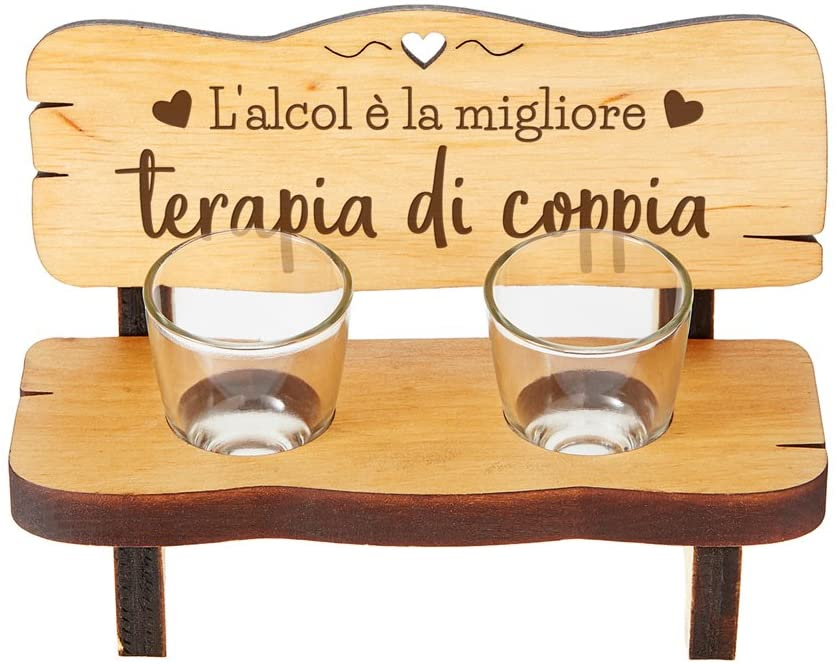 Bench for Shot in Wood with 2 Glasses in Glass Included