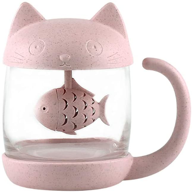Cat shaped teacup with fish shaped infuser