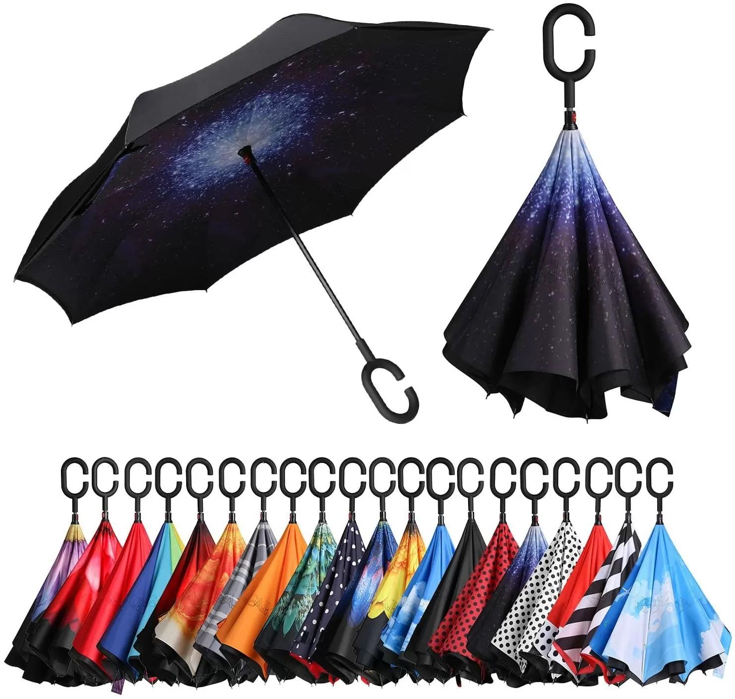Eono inverted umbrella with C-shaped handle