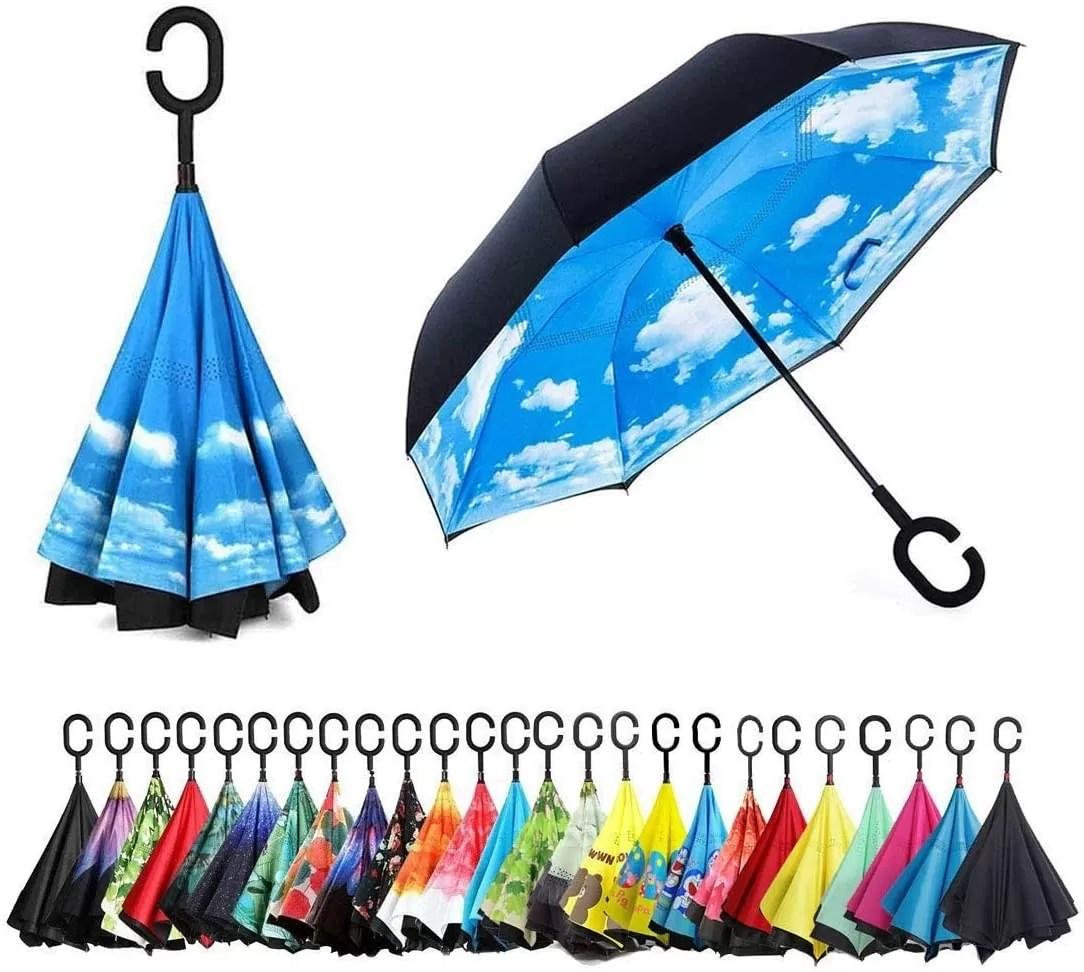Reverse reversible umbrella with reverse opening