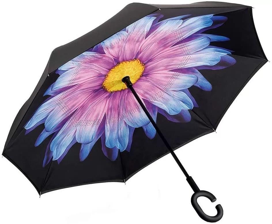 Reverse reversible umbrella with flower