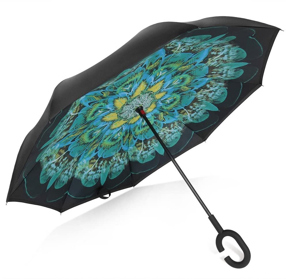 Double layer inverted umbrella with peacock feather motif