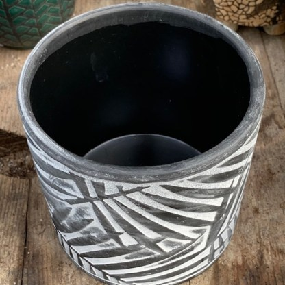Black Palm Leaf Ceramic Pot