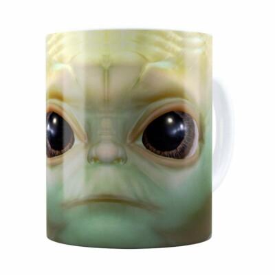 Caneca Baby Yoda 3d Print Star Wars Branca