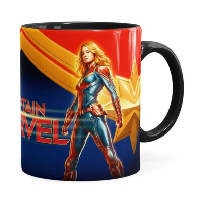 Caneca Capitã Marvel 3d Print Preta