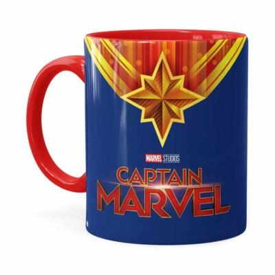 Caneca Capitã Marvel Filme V01 Vermelha