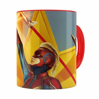 Caneca Capitã Marvel Filme V06 Vermelha