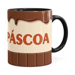 Caneca Feliz Páscoa Chocolate Preta