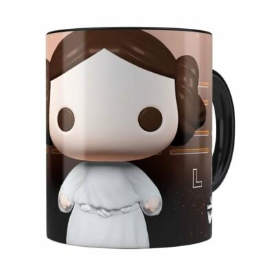 Caneca Princesa Leia 3d Print Star Wars Preta