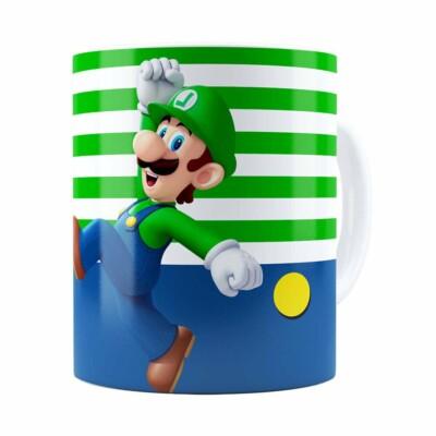 Caneca Super Mario Bros Luigi Pulando Branca