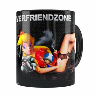 Caneca Super Mario Bros #neverfriendzone Sexy V01 Preta