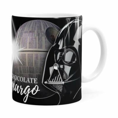 Caneca Chocolate Star Wars Darth Vader Lado Negro Branca