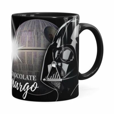 Caneca Chocolate Star Wars Darth Vader Lado Negro Preta