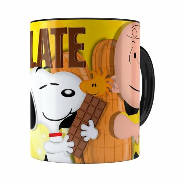 Caneca Peanuts Chocolate Com Amendoim Snoopy Branca