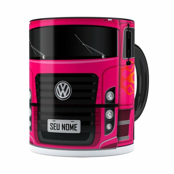 Caneca Personalizada Truck Pink V01 Com Nome Preta