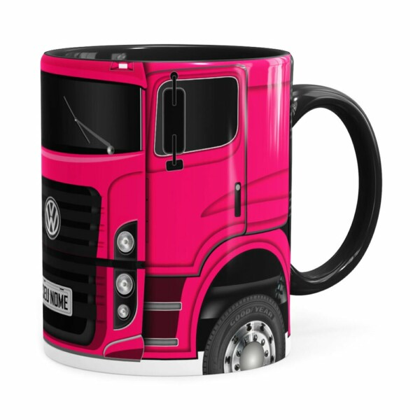 Caneca Personalizada Truck Pink V02 Com Nome Preta