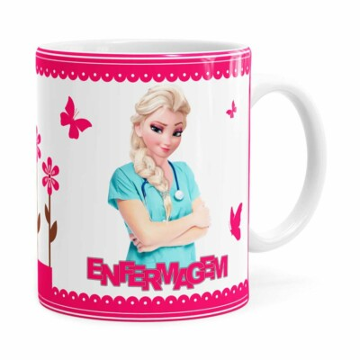 Caneca Profissões Enfermagem Frozen Elsa Branca