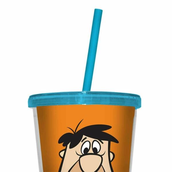 Copo Flintstones Fred 500ml Tampa E Canudo