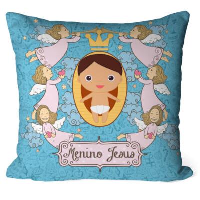 Almofada Anjos Menino Jesus Azul