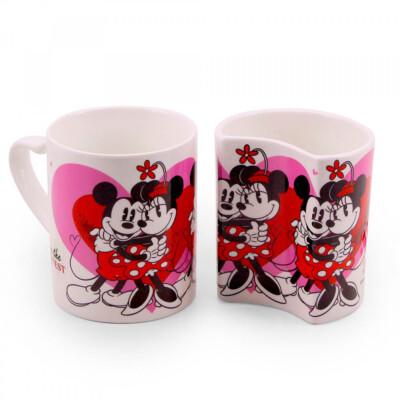 Conjunto De Canecas Mickey e Minnie De Porcelana Amor Branca