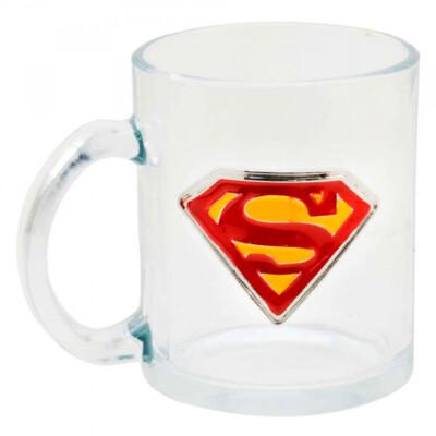 Caneca Superman De Vidro Brasão Metal 370ml