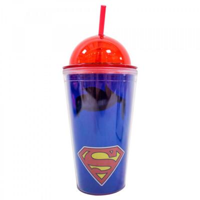 Copo Superman De Plástico Com Canudo 450ml