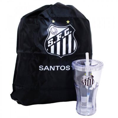 Copo Santos Com Canudo E Mochila Tipo Saco 550ml