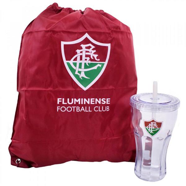 Copo Com Canudo Fluminense 550ml + Mochila Tipo Saco