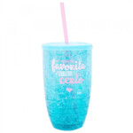 Copo Canudo Azul Gel Congelante 500ml