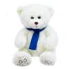 Pelúcia Urso Branco Cachecol Azul 35cm