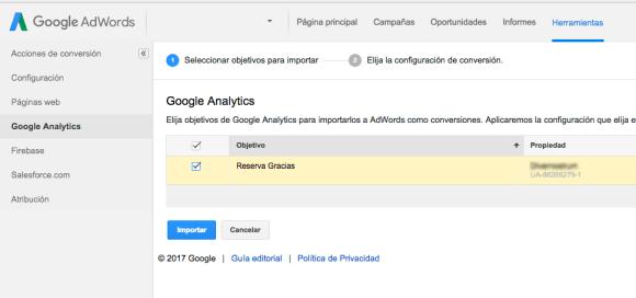 importar objetivos de analytics en google adwords