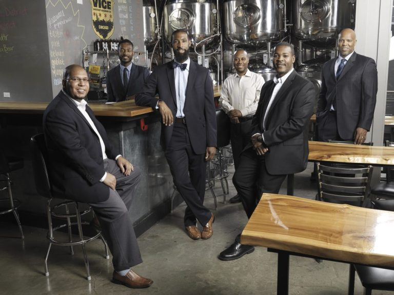Curtis Tarver and mentoring group at Vice District Brewing