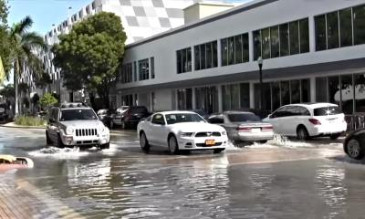 cars in miami drive over sea water that's flooded into streets