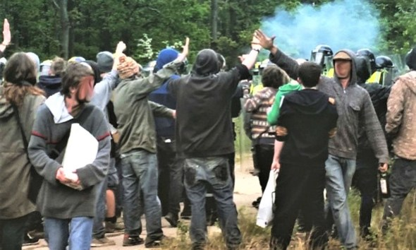 police stop a crowd of people with tear gas
