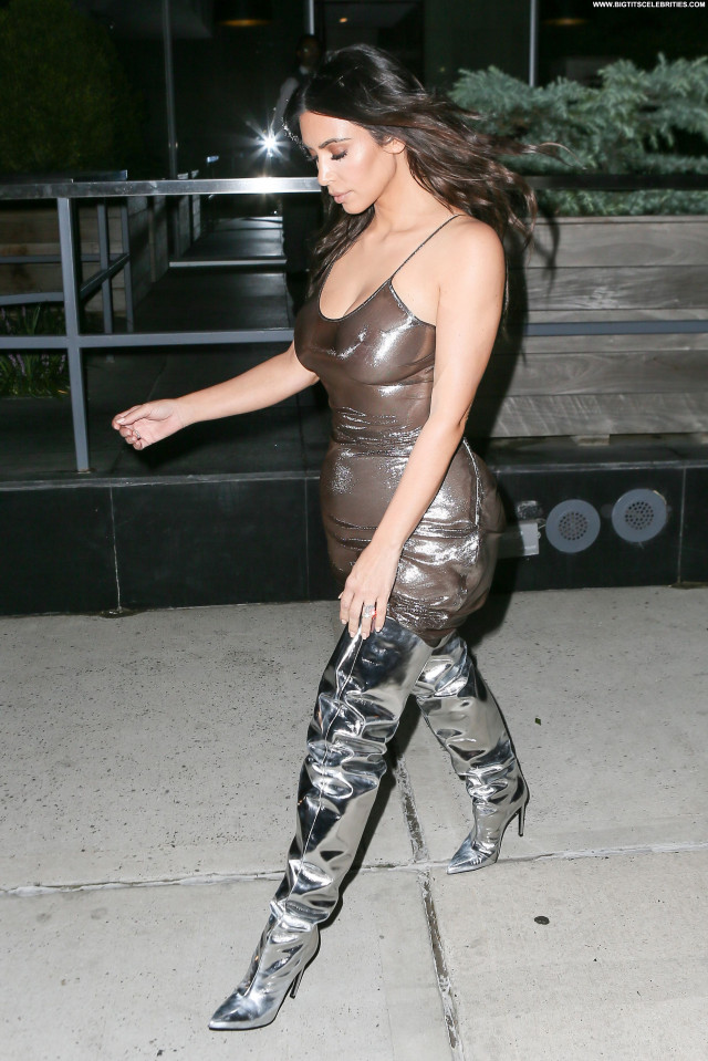 Kim Kardashian Posing Hot Braless Bizarre Celebrity American