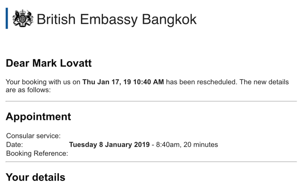British Embassy appointment