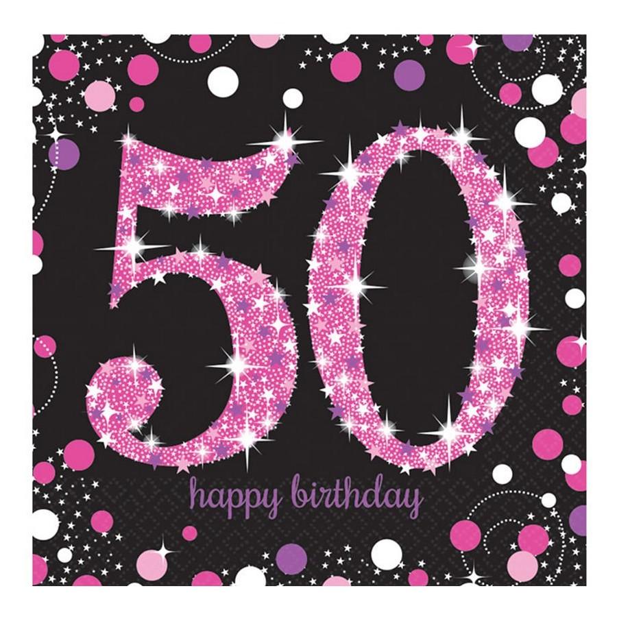 50th Birthday Celebration Napkins 16 Pack Black Big W