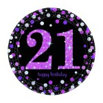 Sparkling Celebration Happy 21st Birthday 9 Paper Plates 8 Pack Pink Big W