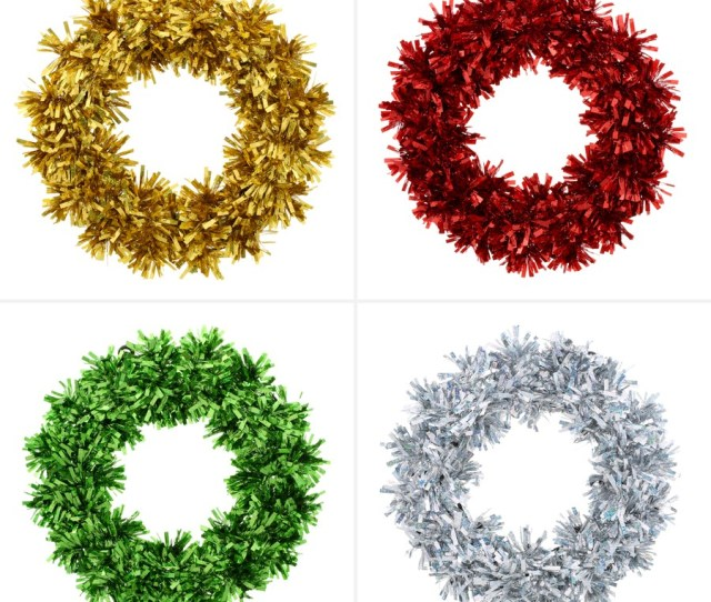Christmas Wreath Tinsel Decor Assorted