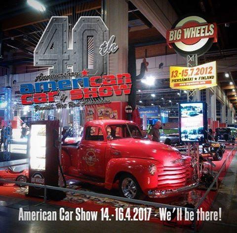 Tämän näköisellä osastolla osallistuimme @fhrary:n American Car Showhun viisi vuotta sitten. Big Wheels on mukana myös tänä vuonna, tervetuloa tontille Helsingin Messukeskukseen pääsiäisenä 14.-16.4.2017!