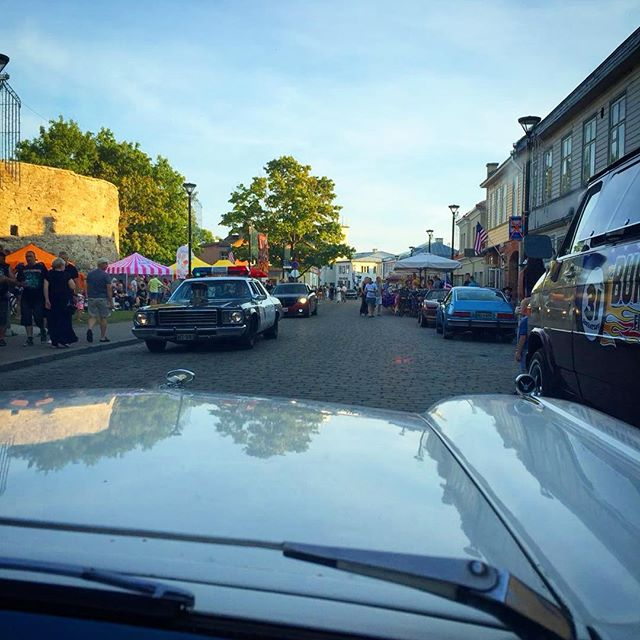 Cruising at old town of Haapsalu. American Beauty Car Show, Haapsalu, Estonia.
