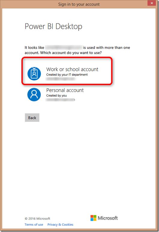 Power BI Microsoft Account Type